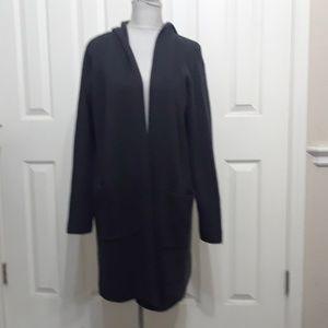 Eileen Fisher 2X brown hooded merino wool cardigan